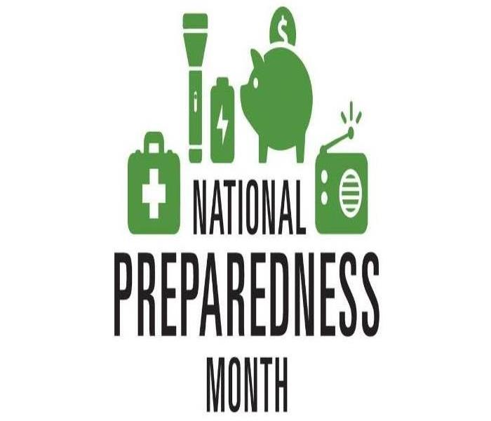 "A first aid kit, flashlight, battery, piggy bank, and radio with a caption saying ""National Preparedness Month"""