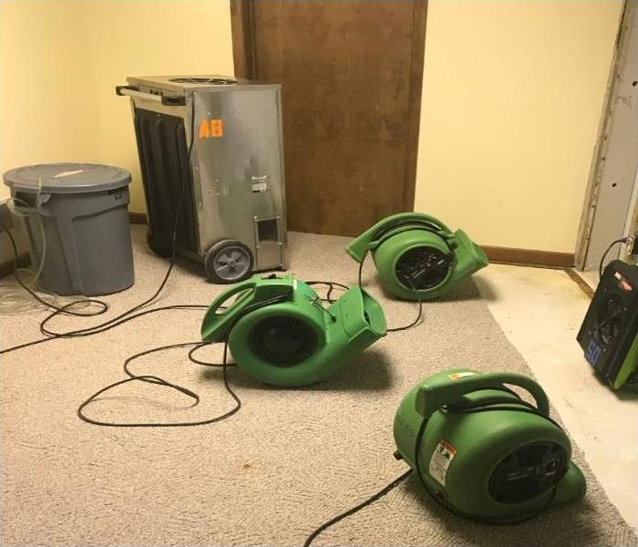 Dehumidifiers and air movers drying a basement