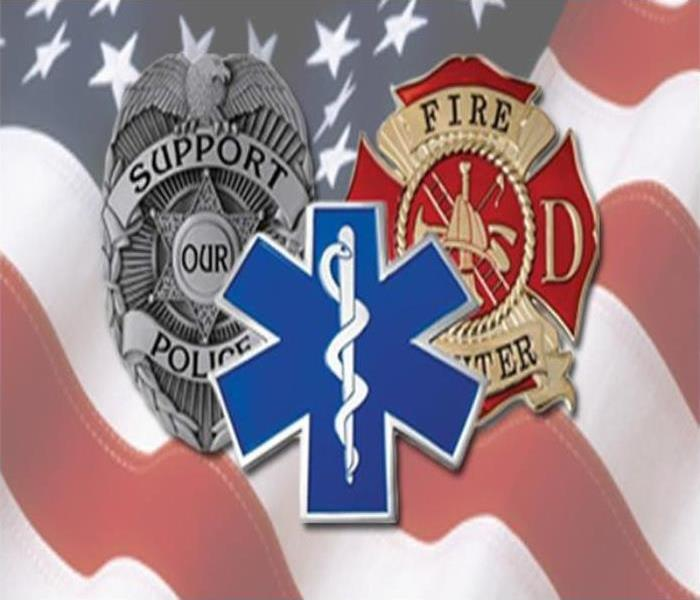 Police, firefighter, and medic logos with an american flag background