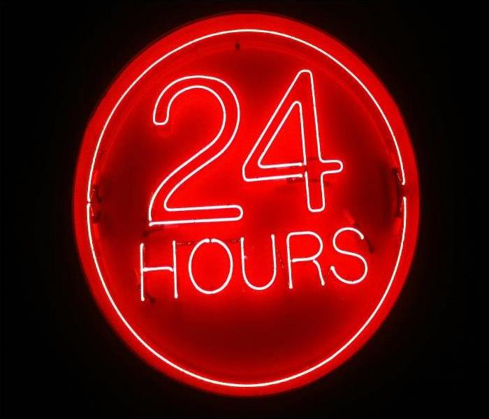 "Red neon sign that says ""24 hours"""